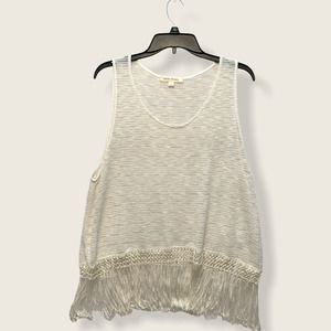 Painted Threads Off White Tank Top w/Fringe M